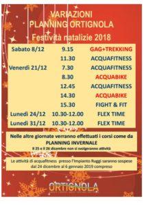 Planning Corsi Ginnastica in Acqua FESTIVITA NATALIZIE