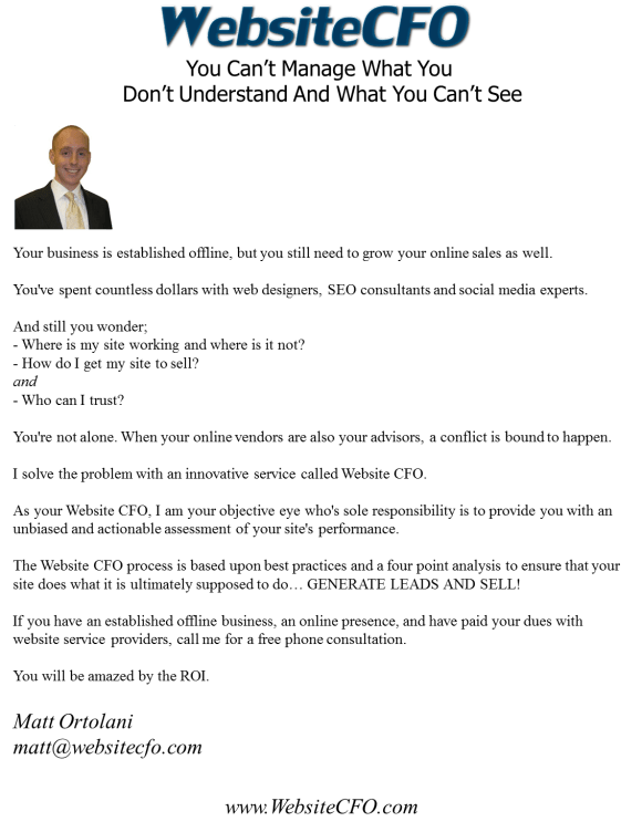 WebstieCFO Services Letter Outline for New Clients