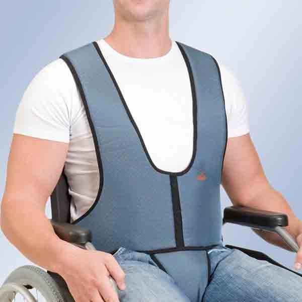 Arnes chaleco para sillas de ruedas con sujeción perineal