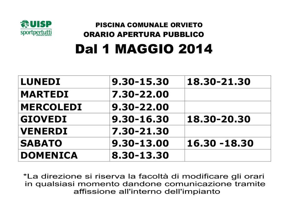 Piscina comunale nuovi orari dal 1 maggio  OrvietoSport