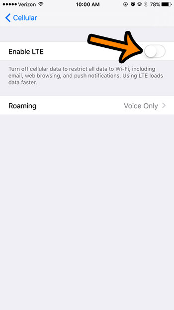 disable lte ios 9
