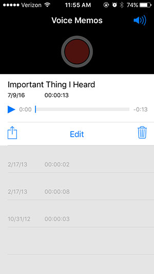 how to record audio on an iphone - step 6