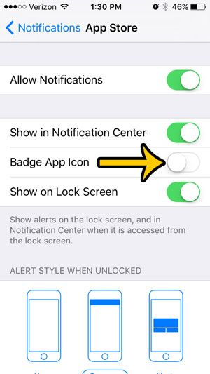 hide white number in red circle on app store - step 4
