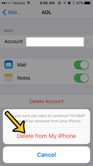 delete email account on iphone 5