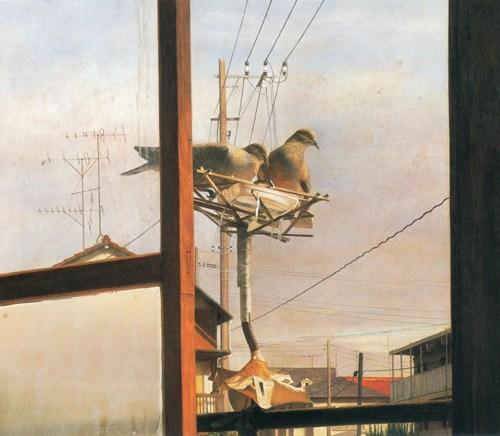 2001年「窓から」56×65cm(15号変)パネル、白亜地、油彩