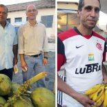 À esquerda, o secretário Elzinho, ao lado do supervisor da Emater, João Batista. Á direita, Pedro, da Associação de Pequenos Produtores Rurais, com as suas deliciosas bananas.