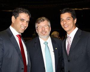 Deputado Federal Marcelo Matos, deputado federal Marco Maia, presidente da Câmara Federal, e vereador Rafael Pinheiro, em Brasília