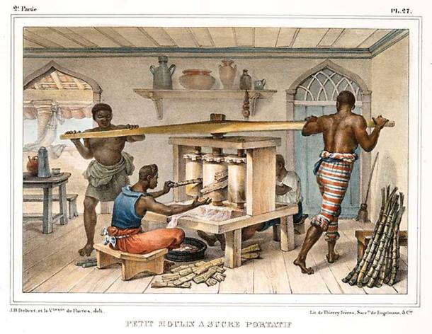 """Ao lado,  engenho de açúcar """"portátil"""" em gravura de Debret, retratando cena do trabalho escravo típico  da época."""