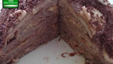 Рецепта за палачинкова торта с шоколадов крем и карамелизирани ябълки