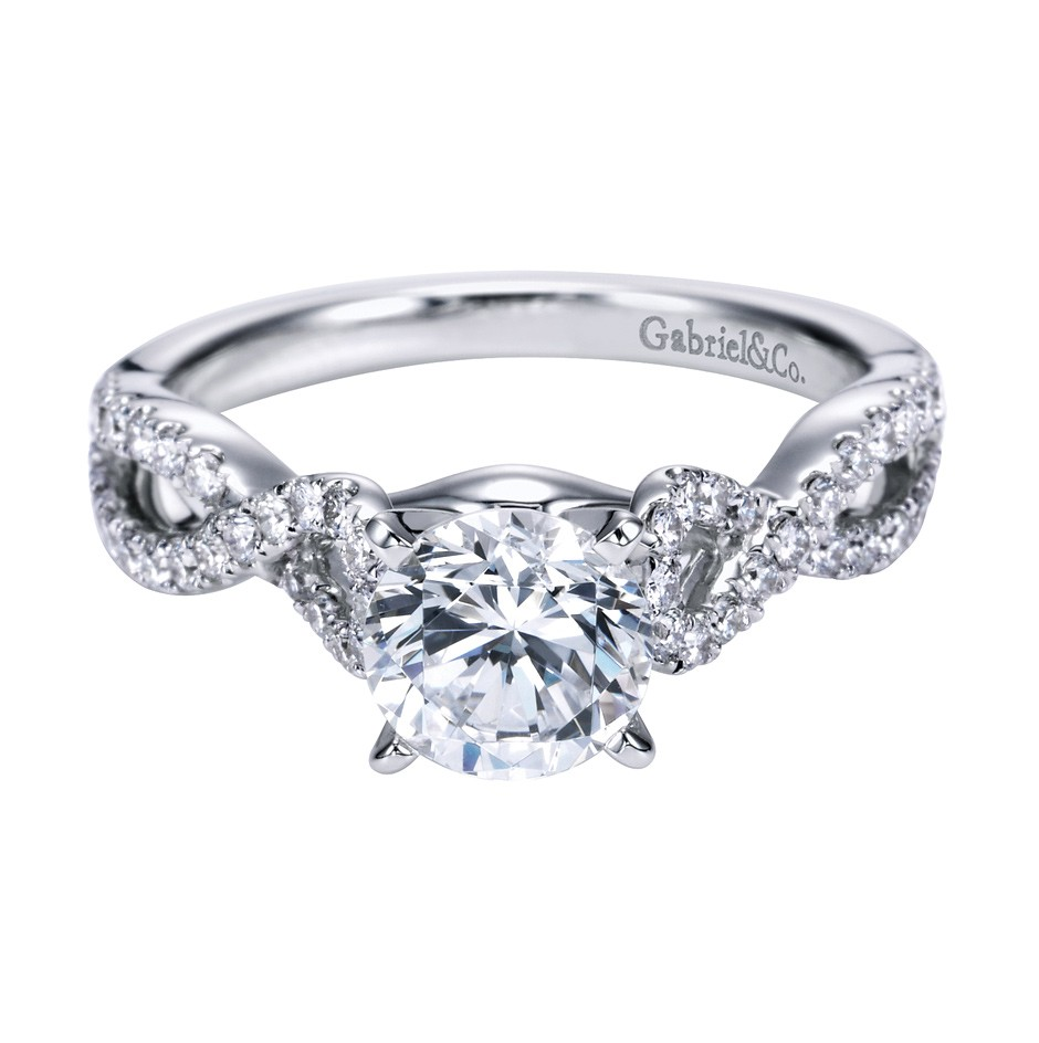 Gabriel Co 14K White Gold Criss Cross Engagement Ring