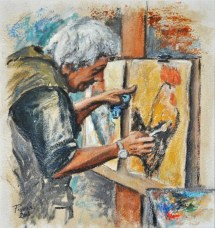ANDREA IL GROSSO, Olio su carta a mano, cm.52×49, 2008