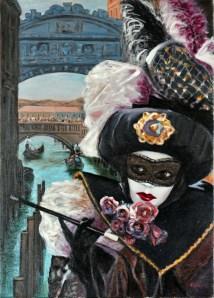 CARNEVALE SOTTO IL PONTE, Oil on canvas, cm.70x50, 2007