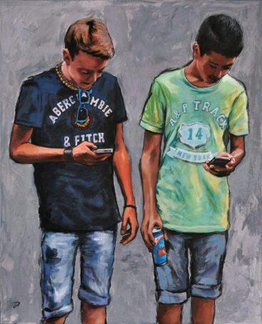 Chatting, Acrilico su tela, cm.100x80, 2013 ■