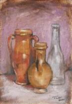 Composizione di vasi, Acrylic on handmade paper, cm.36x26, 2010 ■