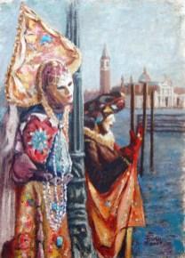 DUE MASCHERE SOTTO IL LAMPIONE, Oil on Oil on handmade paper, cm.72x51, 2009