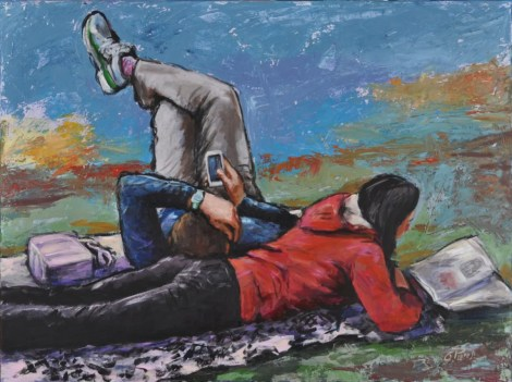 Letture sull'erba, Acrilico su tela, cm.60x80, 2016