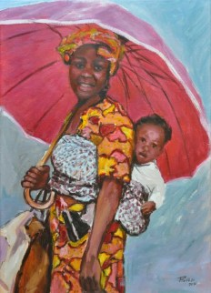 Madre con bimbo, Acrylic on canvas, cm. 50x70, 2010 ■