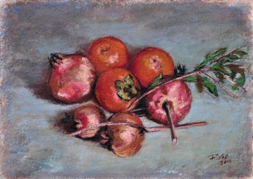 Melograni e cachi, Olio su carta a mano, cm.36x51, 2009