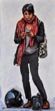 RAGAZZA DELLO SCOOTER, Acrilico su tela, cm.120x60, 2014
