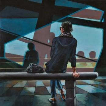 RAGAZZA IN ATTESA, Acrilico su tela, cm.70x70, 2017