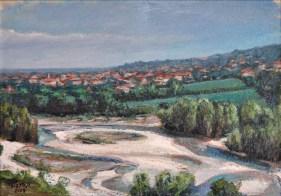 San Polo sullo sfondo dell'Enza, Oil on handmade paper, cm.37×52, 2008