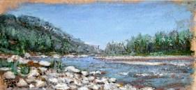 Scorcio sull'Enza, Oil on handmade paper, cm.25×51, 2008