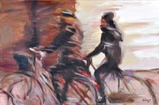 Amiche in bicicletta, Acrylic on canvas, cm.40x60, 2010 ■