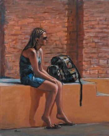 La ragazza con lo zaino, Acrylic on canvas, cm.50x77, 2010 ■