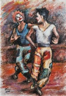 LA DANZA DEI CLOWNS, Oil on handmade paper, cm.51x36, 2008