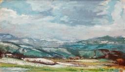 Ultima neve sulle colline parmensi, Oil on handmade paper, cm30x51, 2009