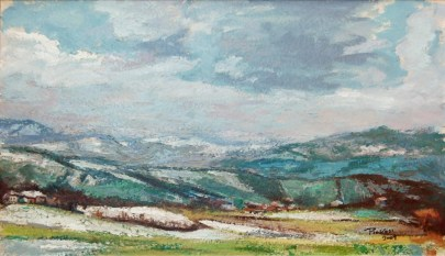 ULTIMA NEVE SULLE COLLINE PARMENSI, Oil on handmade paper, cm30x51, 2009