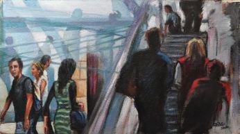 STUDIO PER FLUGHAFEN, Oil on handmade paper, 73x41, 2010