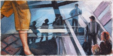 TRAVELING, Olio su carta a mano, cm.77x152x2, 2010 ■