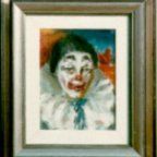 CLOWN 1p, Oil on cardboard, cm 24×18, 1976 ■