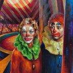 CLOWN E ACROBATI, Oil on canvas, cm 80X60, 1977 ■