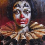 RAGAZZA CLOWN 2, Oil on canvas, cm 50X40, 1976 ■