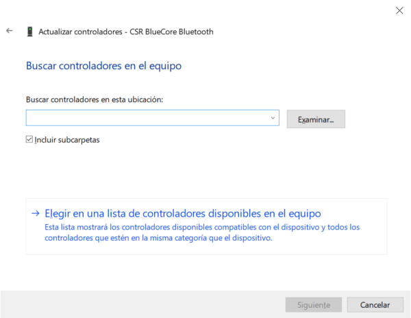 administrador de dispositivos windows 10 adaptador CSR Bluecore Bluetooth 4.0 navegar busqueda driver