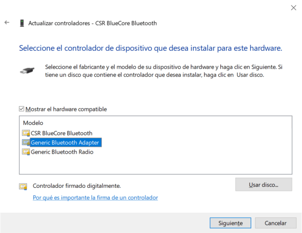 administrador de dispositivos windows 10 seleccionar driver