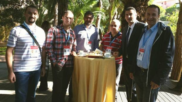 Predsjednik Cvetko Pajković i generalni sekretar Ivan Bošković sa Vladimirom Grbićem, Petrom Jovanovskim, Milutinom Popovićem i Draženkom Haračićem