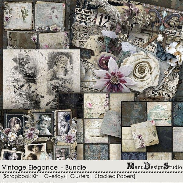 vintage elegance bundle by manu design studio