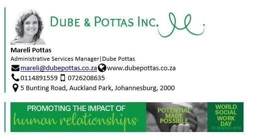 Dube and Pottas Banner World Social Work Day