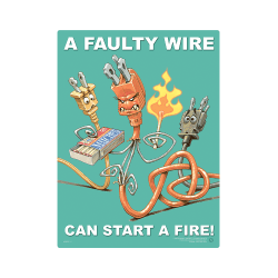 Faulty Wire Can Start A Fire Safety Poster