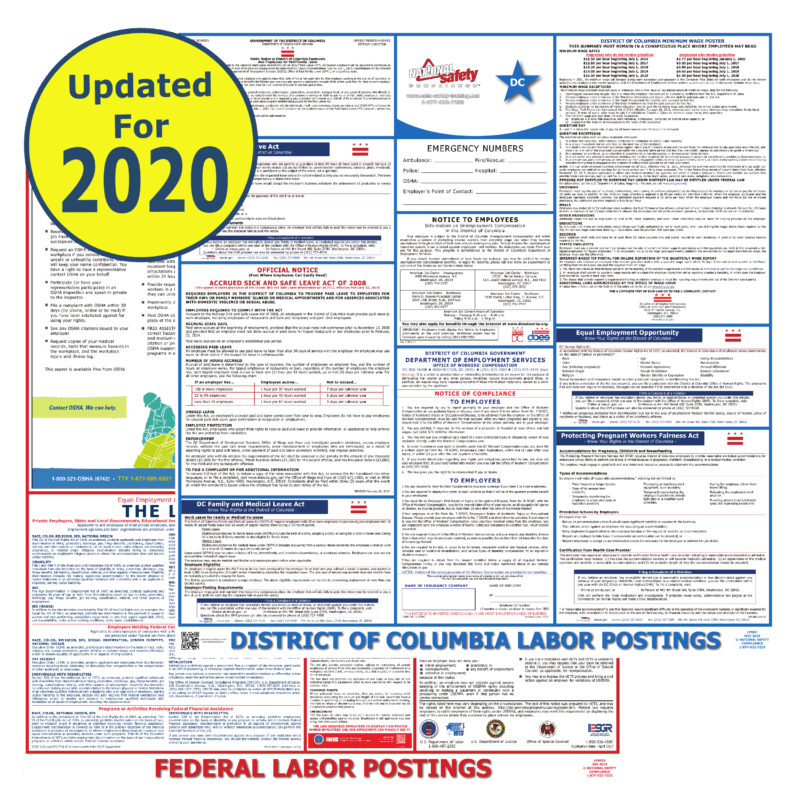 2021 washington d c and federal labor law posters