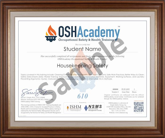 610 Housekeeping Safety  OSHAcademy free online training