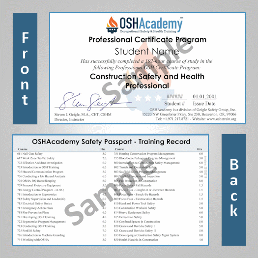OSHAcademy  192hour Construction Safety Professional program