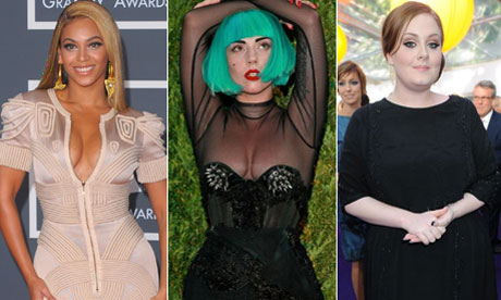 Singers Beyonce, Lady Gaga and Adele, courtesy of The Guardian