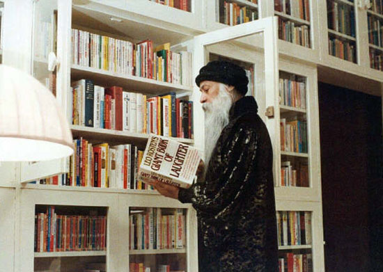Osho in his library