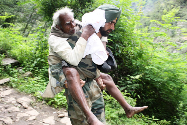 rediff news old man on back of soldier