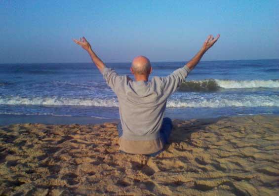 Subhuti at the beach in Goa