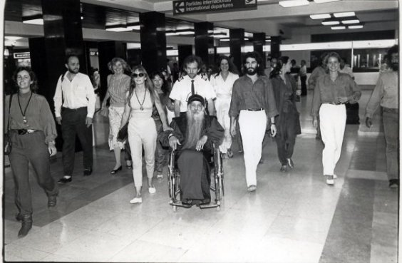 Osho and crew at airport in Portugal